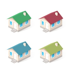 House isometric icons set vector image