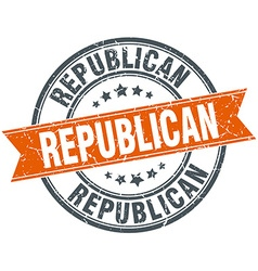 Republican round orange grungy vintage isolated vector