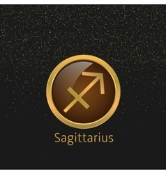 Golden sagittarius sign vector