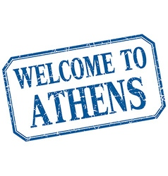 Athens - welcome blue vintage isolated label vector image