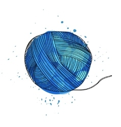 A ball of blue yarn for vector