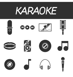 Karaoke icon set vector