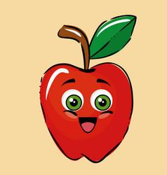 Apple fruits comic characters vector