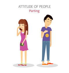 Attitude of people parting couple split up vector