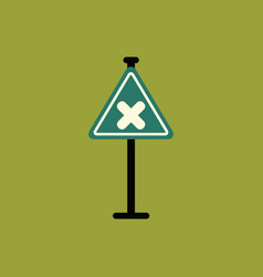 Awareness sign with an x sign road symbol vector