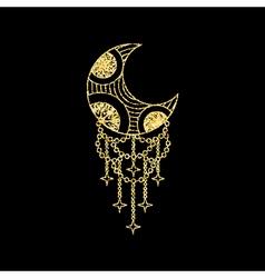 Boho moon on golden glitter sparkles background vector