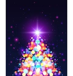 Bright colors bokeh light effect christmas tree vector
