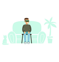 businessman wearing vr headset with home vector image