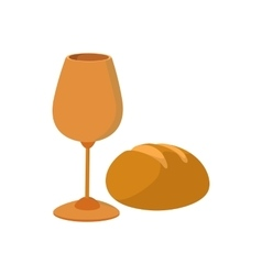 Chalice with wine piece of bread cartoon icon vector