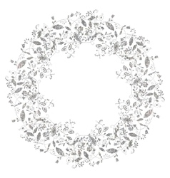 Circle silver floral frame in doodle style vector