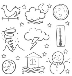 Doodle of weather set element collection vector