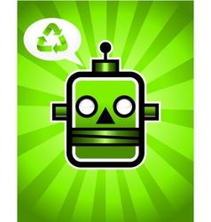 Green Recycling Retro Robot vector image vector image