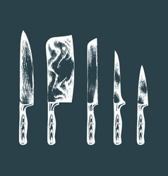 Hand drawn kitchenchefs knives set vector