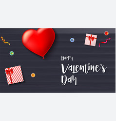 happy valentine s day greeting card on wooden vector image vector image