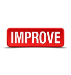 Improve red 3d square button on white background vector