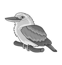 Kookaburra sitting on branch icon in monochrome vector