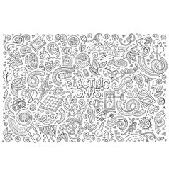 Line art doodle cartoon set of electric vector