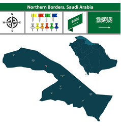 Map of northern borders saudi arabia vector