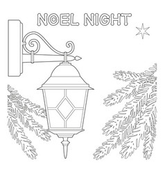 noel night black and white poster with lonely star vector image vector image