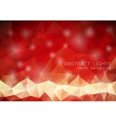 Red triangle geometrical background with lights vector image