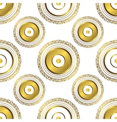 Seamless geometric pattern with gold circles vector image