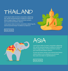 Set of asia and thailand flat web banners vector