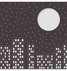 Silhouette of the night city Stars and big moon vector image