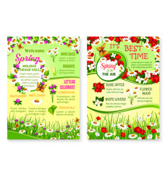 Spring holiday grand sale floral posters vector