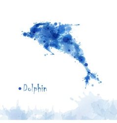 Watercolor dolphin background vector