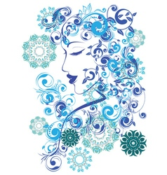 Winter Girl with Floral4 vector image