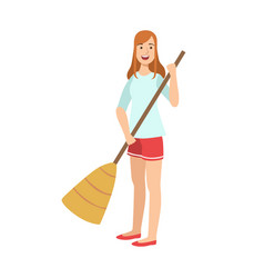 Woman sweeping the floor with broom cartoon adult vector
