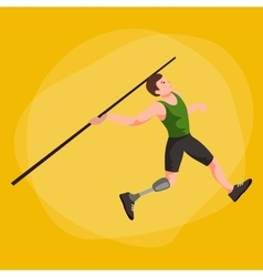 Disabled athlete with prosthesis isolated concept vector