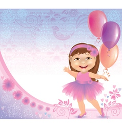 Glamorous birthday background with little girl vector
