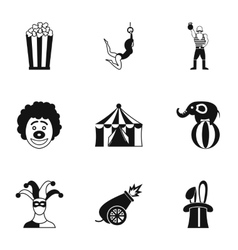 Circus chapiteau icons set simple style vector image