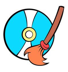 clean up hard drive icon cartoon vector image