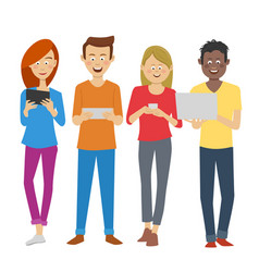 Multiracial students using digital devices vector