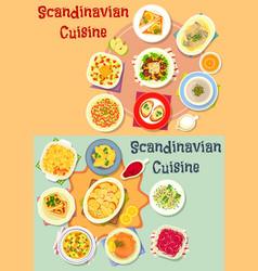 Scandinavian cuisine dinner dishes icon set vector