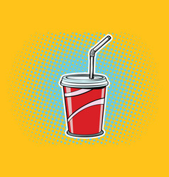 Paper cup fast food beverage vector