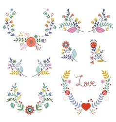 Floral wreathes collection vector image