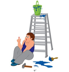 Cartoon man in blue sleeveless top with injured vector