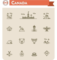 Canada travel icon set vector image