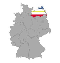 Map of Germany with flag of Mecklenburg-Vorpommern vector image