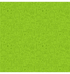 Thin line happy new year seamless green pattern vector