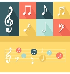 Flat musical elements set vector