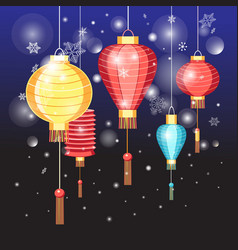 Beautiful Chinese red lanterns vector image