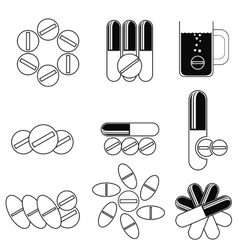 Set of different pills icons vector