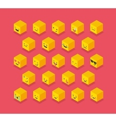 Isometric emoticons cube square colorful icons vector