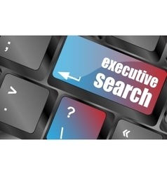 Executive search button on the keyboard close-up vector