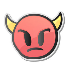 angry face emoticon with horns emoji smiley symbol vector image vector image