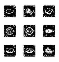 Beef icons set grunge style vector